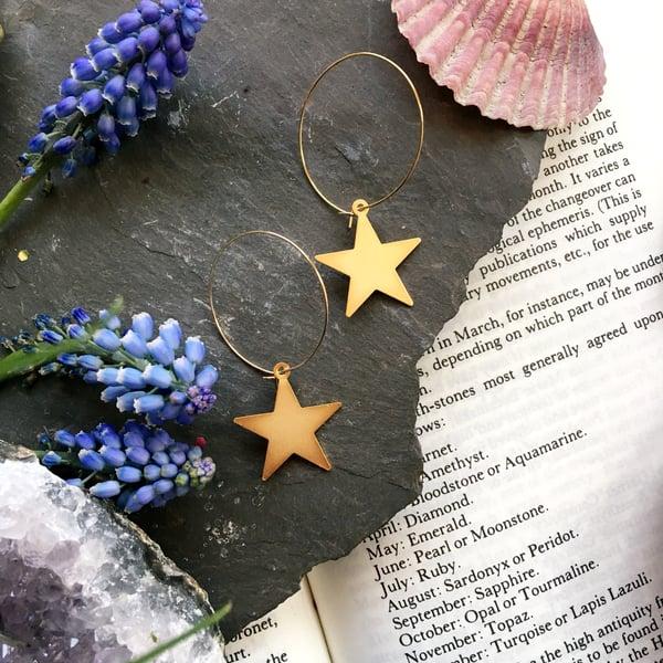 Image of Golden Star Hoop Earrings