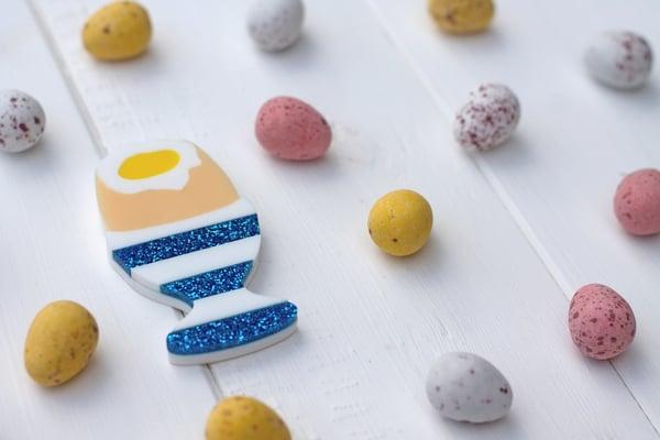 Easter Boiled Dippy Egg Brooch - Black Heart Creatives
