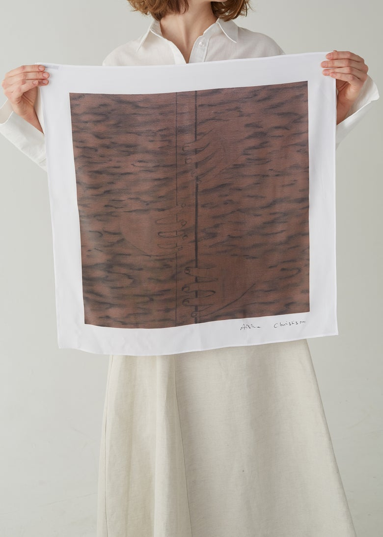 Image of 18-3 'WOODWIND WITH THREE HANDS' ORGANIC SILK SCARF