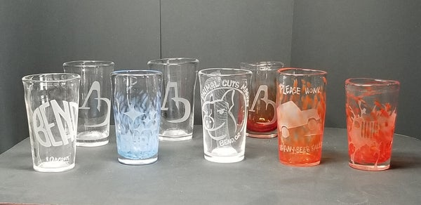 Image of Custom etched logo pint glasses