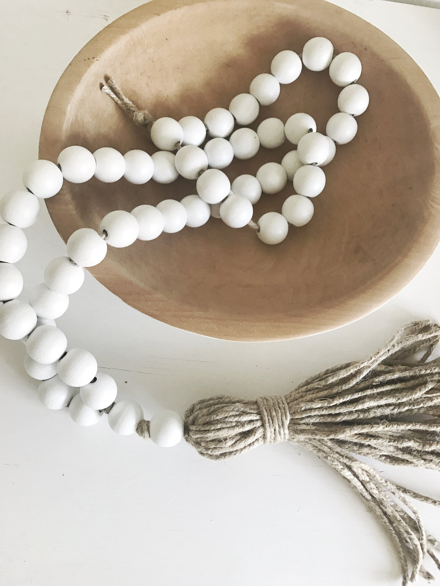 Image of LONG TASSEL LOVE BEAD - WHITE, NATURAL TASSEL