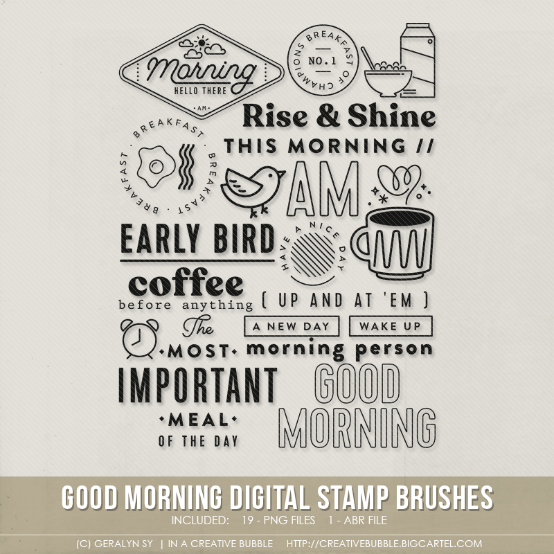 Image of Good Morning Stamp Brushes (Digital)