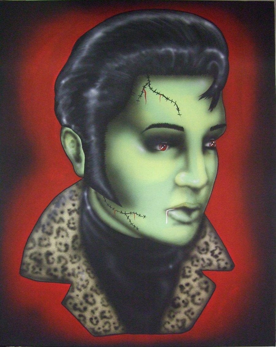 Image of Zombie Elvis Print