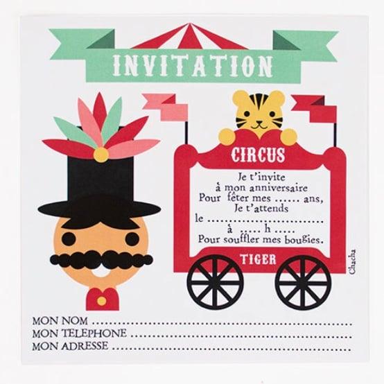 Image of Lot de 8 cartes d'invitation Cirque CHACHA CRÉA