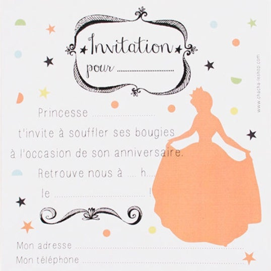 Image of Lot de 8 cartes d'invitation Princesse CHACHA CRÉA