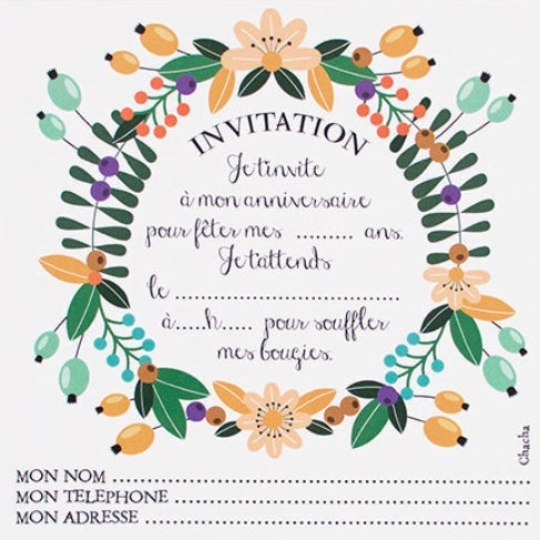Image of Lot de 8 cartes d'Invitation Fleurs CHACHA CRÉA