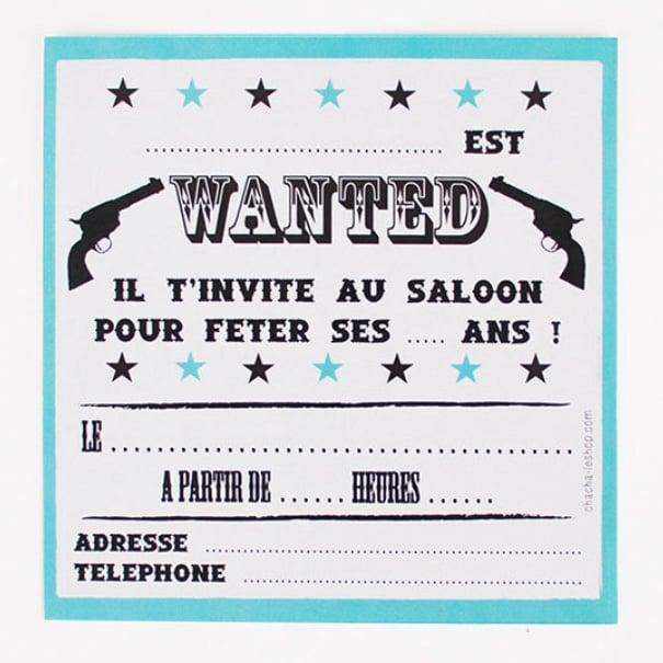 Image of Lot de 8 cartes d'invitation Cowboy CHACHA CRÉA