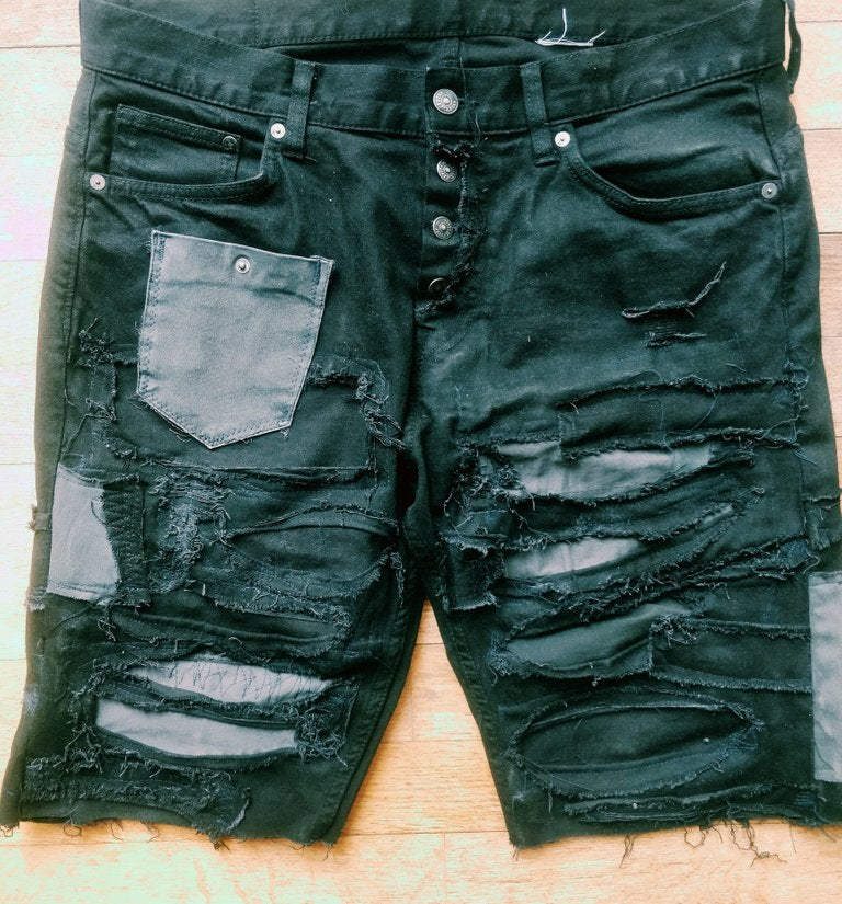 Image of Frankenstein distressed shorts