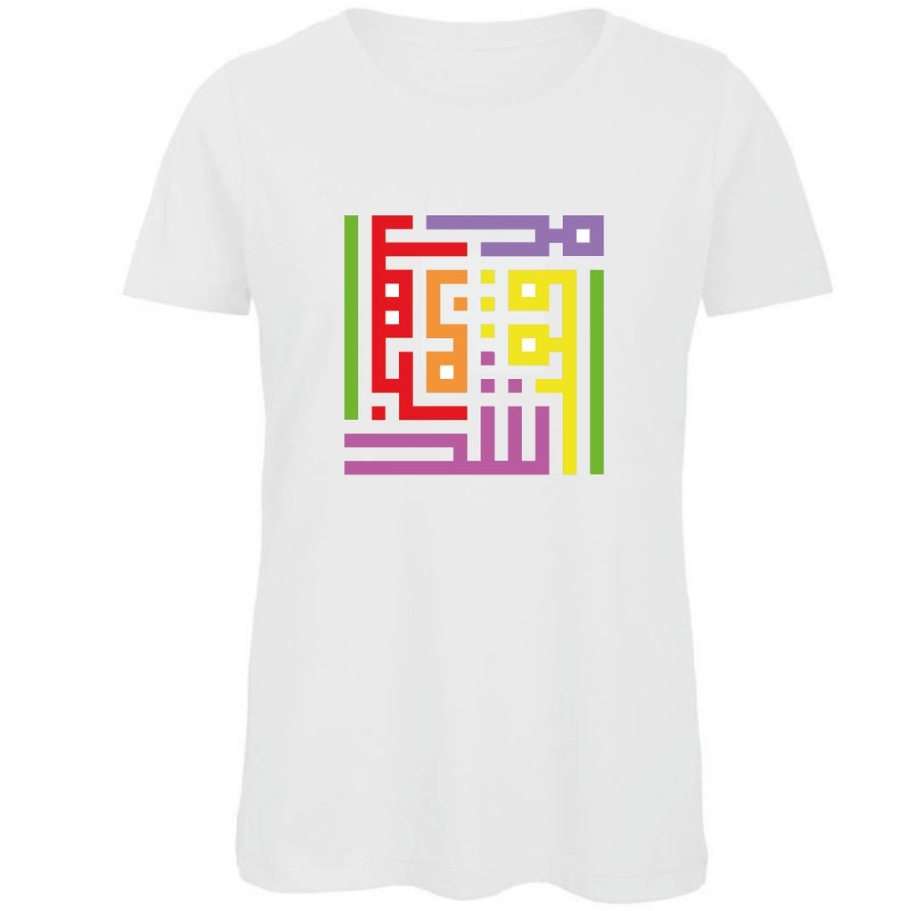 Image of Woman t-shirt - Rainbow calligraffiti