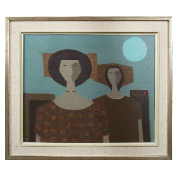 Image of Mid Century Oil, 'Two Woman,' Fabian Lundqvist