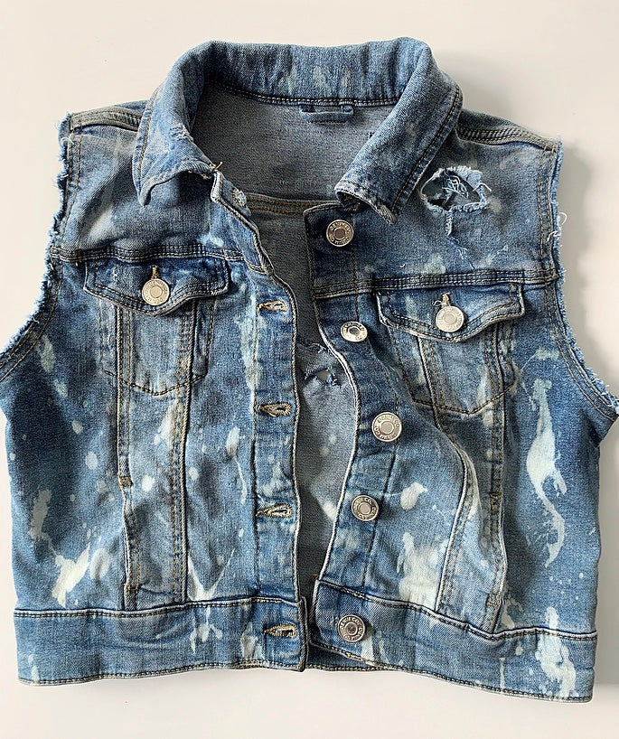 Image of Denim Distressed Waistcoat