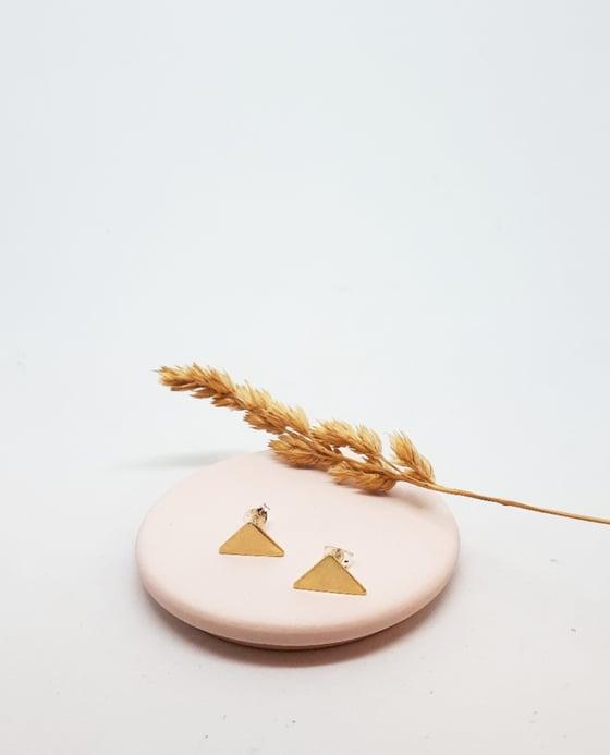 Image of Brass Triangle Studs