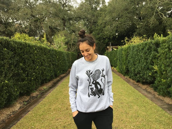 """Image of """"Sacred lioness"""" Hand pulled screen printed Unisex sweatshirt"""
