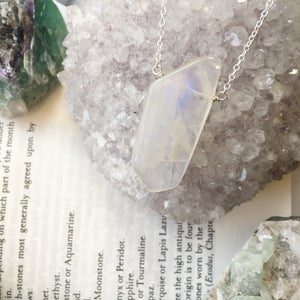 Image of Moondust Necklace - Moonstone, Sterling Silver - version 2