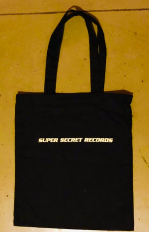 Image of Super Secret Records Label T-shirt & Vinyl Tote Bag bundle