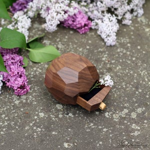 Image of Ring bearer box - wooden wedding ring box - large faceted ring box with a drawer by Woodstorming