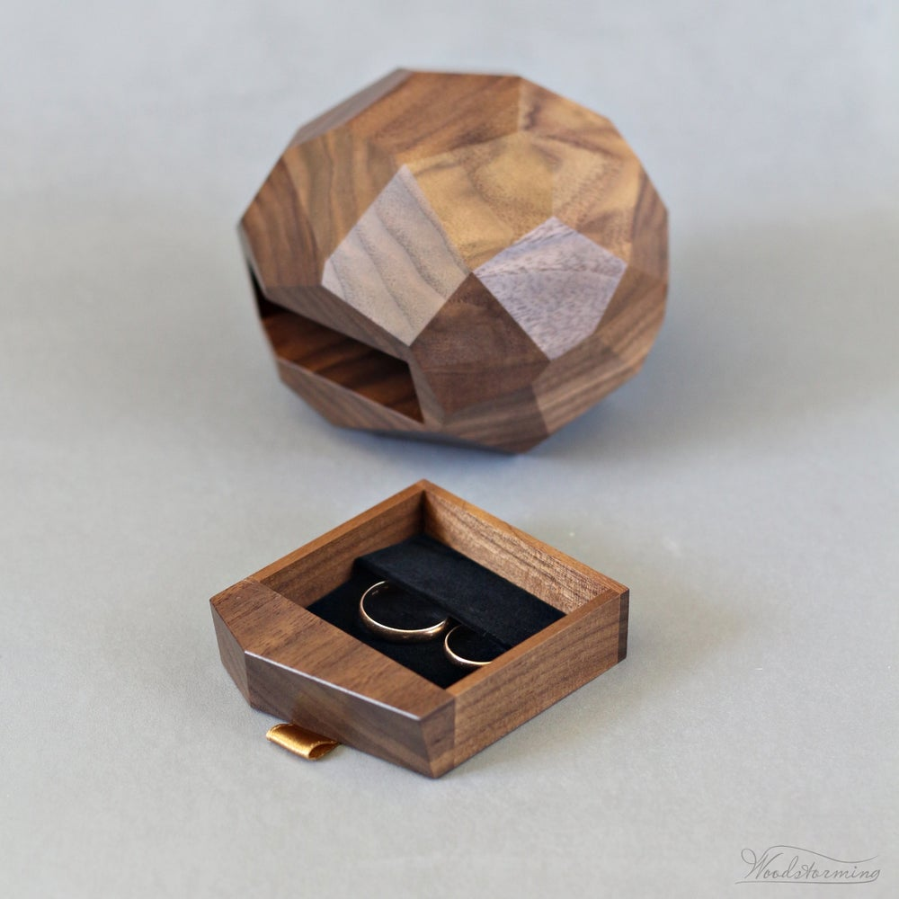 Wood Wedding Rings.Ring Bearer Box Wooden Wedding Ring Box Large Faceted Ring Box With A Drawer By Woodstorming