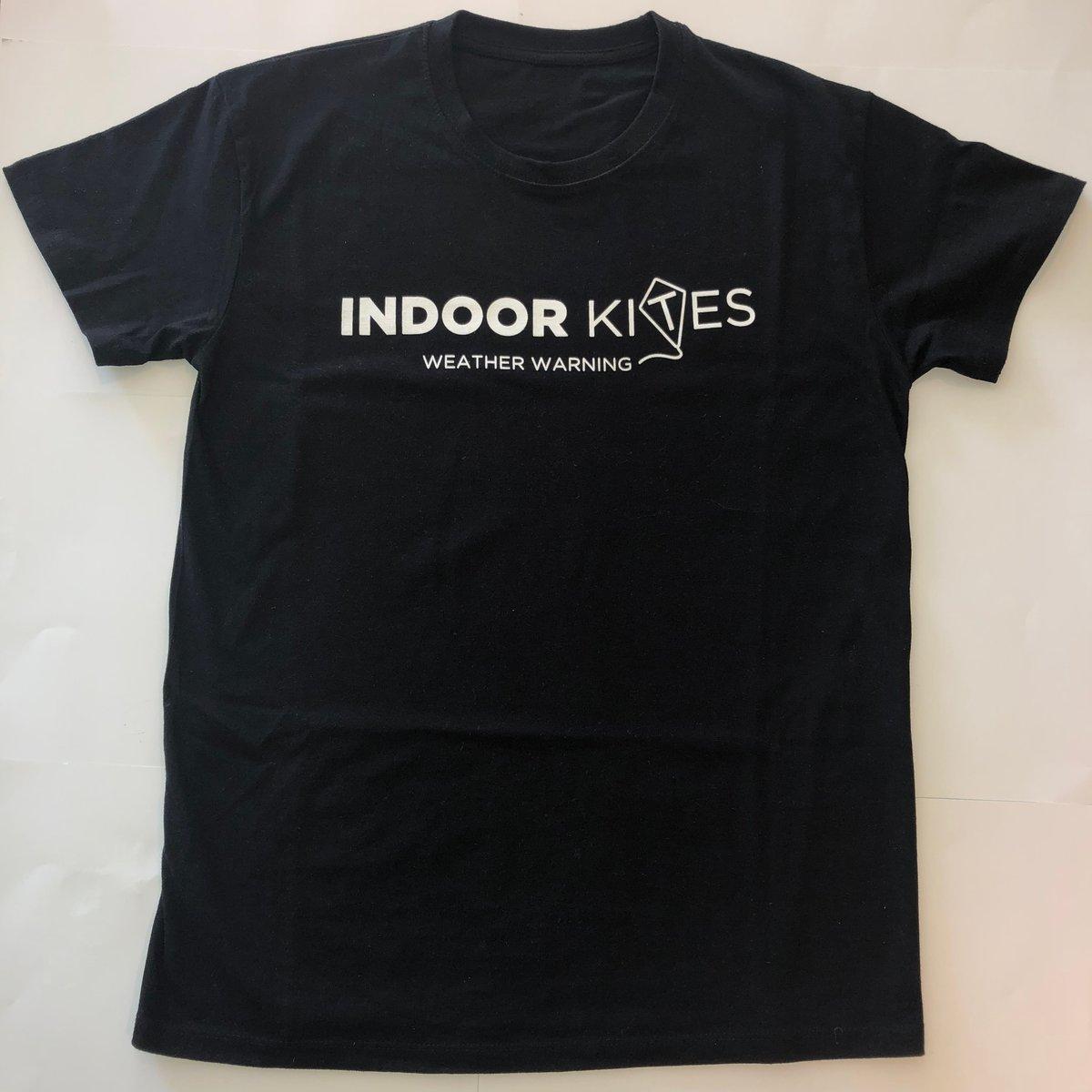 """Image of Indoor Kites Logo Black T-Shirt """"weather warning"""""""