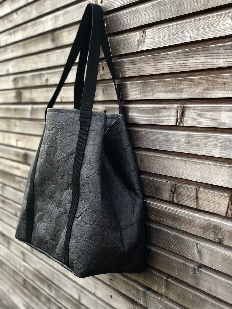 Image of Vegan large tote bag in black Piñatex™ office tote laptop tote bag COLLECTION UNISEX