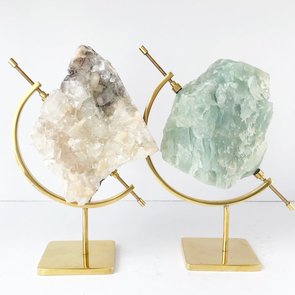 Image of Apophyllite/Stilbite no.05 Pisces Collection Brass Pairing