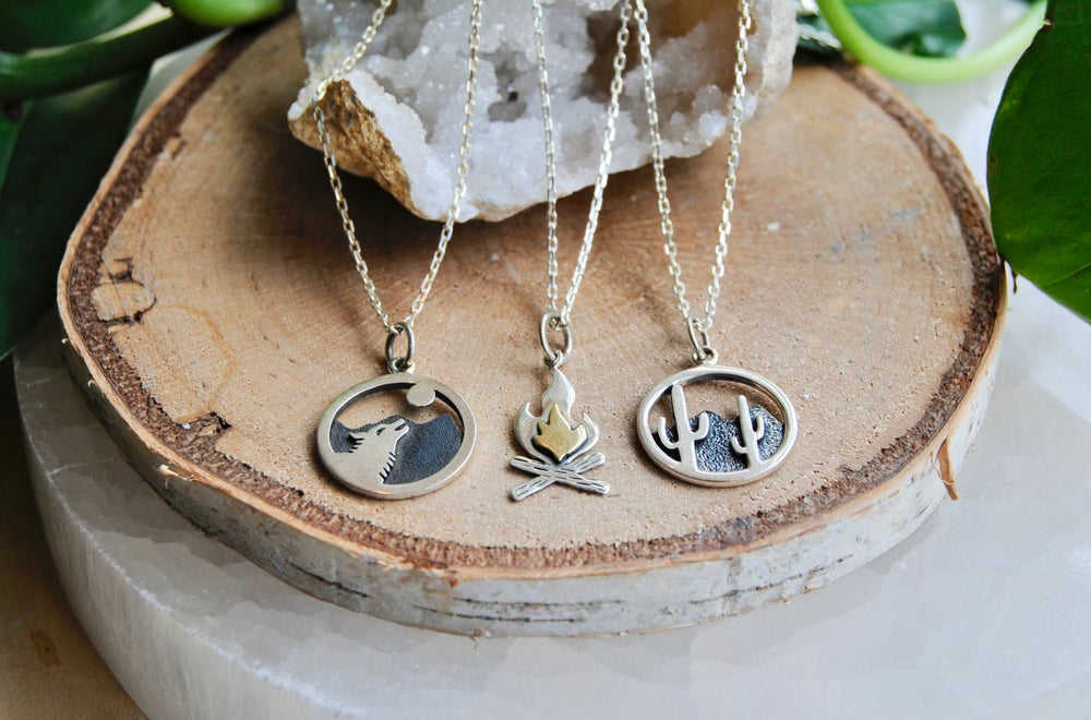 Image of Wolf, Cactus and Camp fire necklaces