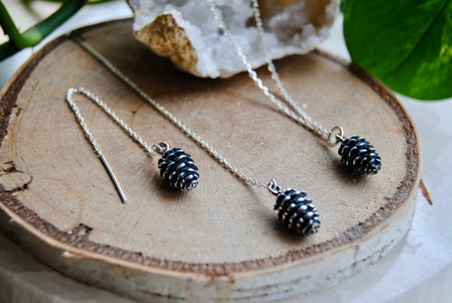 Image of Pine cone necklace and matching thread earrings