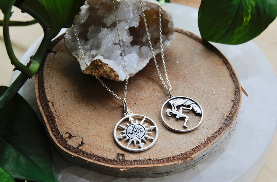 Image of Compass and hiker necklace