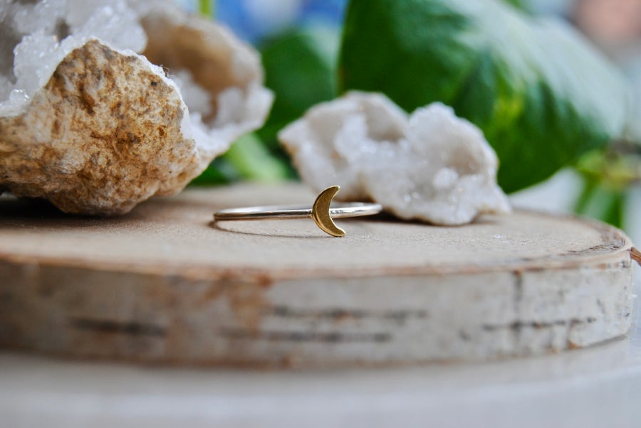 Image of Petite bronze and sterling silver moon ring