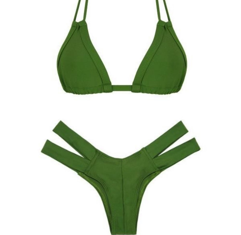 Image of Olive Green Skin Collection 2 Piece bikini