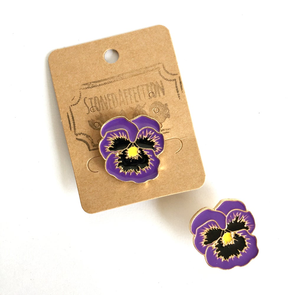 Image of Purple Pansy Flower Enamel Pin