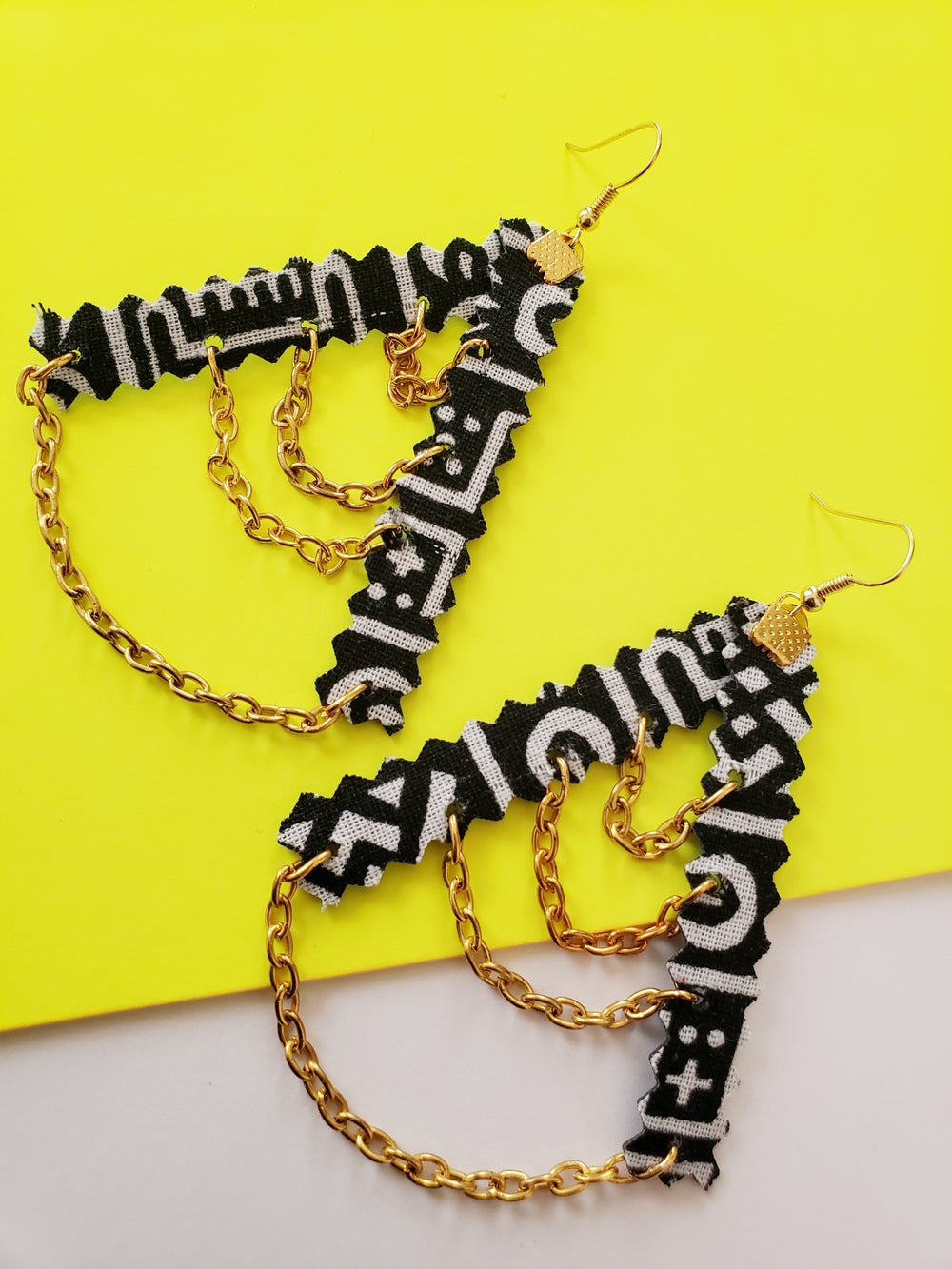 Image of Chain Earrings African Fabric
