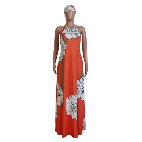 Image of Orange Floral Print Dress W/ Scarf