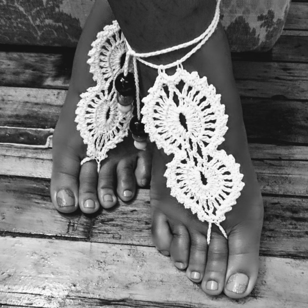 """Lacey "" Crochet Barefoot Sandals"