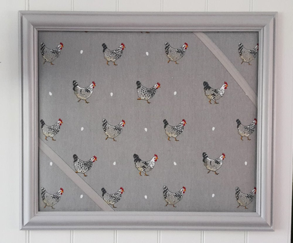 Image of Grey  Framed   CHICKENS Pin Board