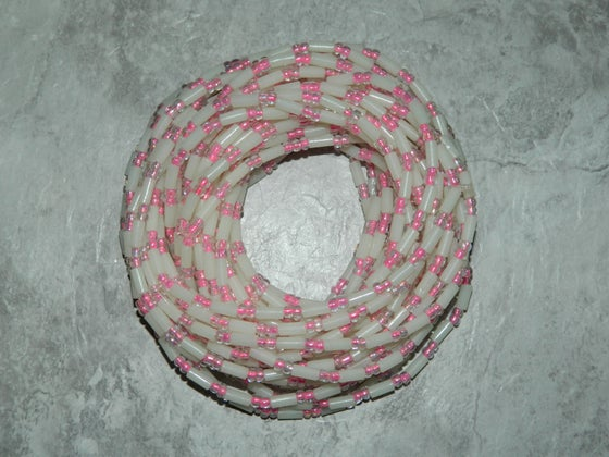 Image of Elastic White and Clear Pink Waistbead