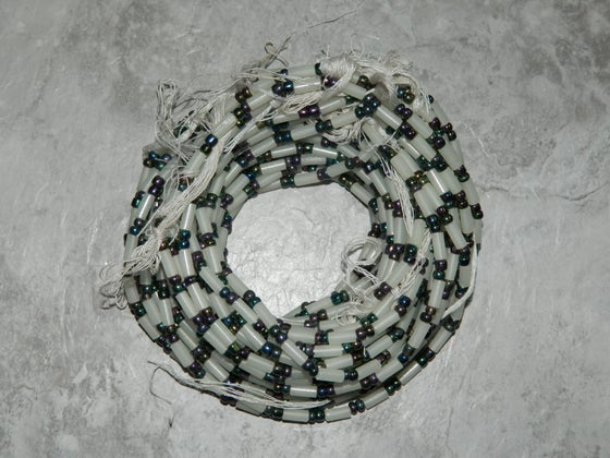 Image of White and Metallic Tie Waistbead