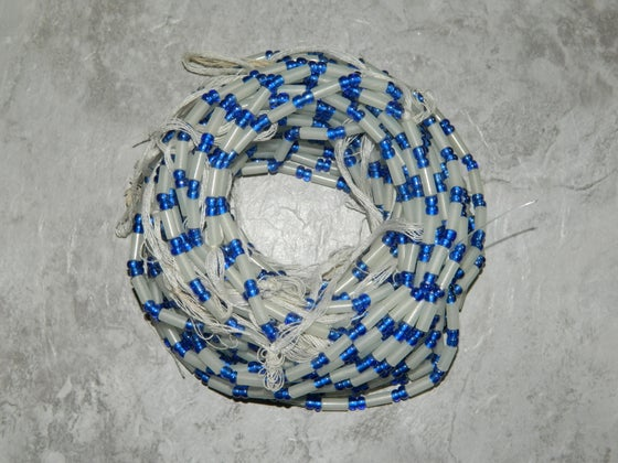 Image of White and Blue Tie Waistbead