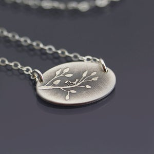 Image of Sterling Silver Bird on Branch Necklace