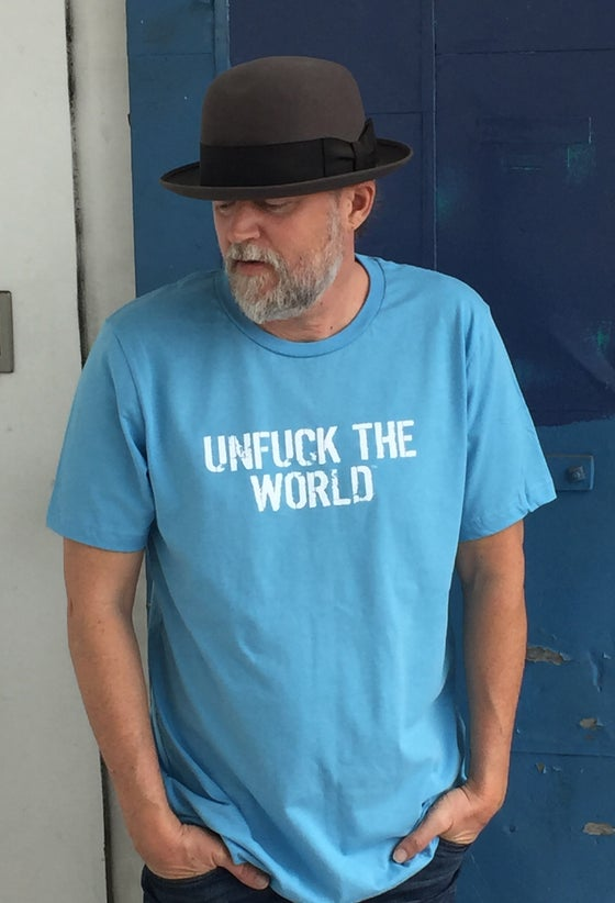 "Image of OFFICIAL  ""UNFUCK THE WORLD""  MEN'S T-SHIRT OCEAN BLUE"