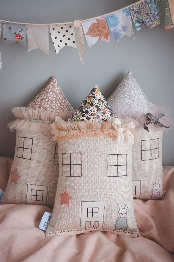 Image of Berry Petite bunny house cushion