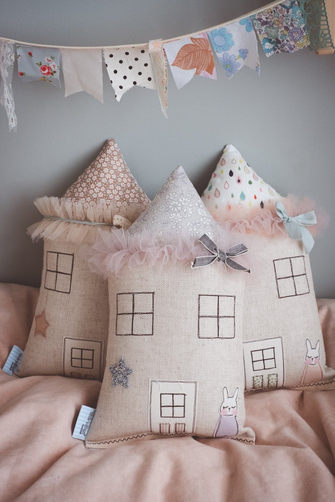 Image of Silver Petite bunny house cushion