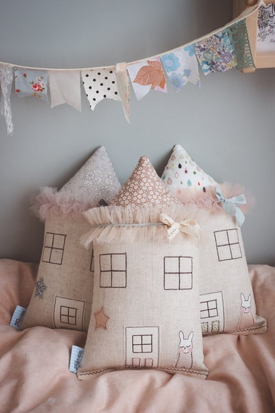 Image of Sweet floral petite bunny house cushion