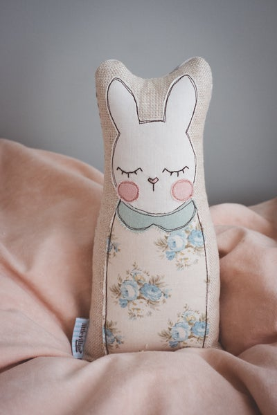Image of Blue vintage floral bunny with sage green collar