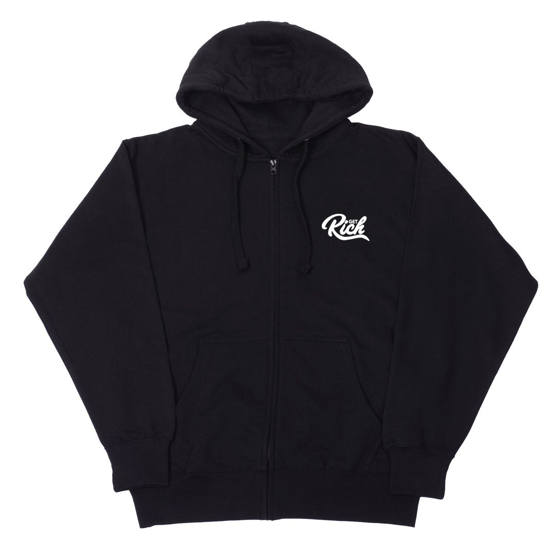 "Image of Get Rich ""Zip-Up"" Hoodie - Black"