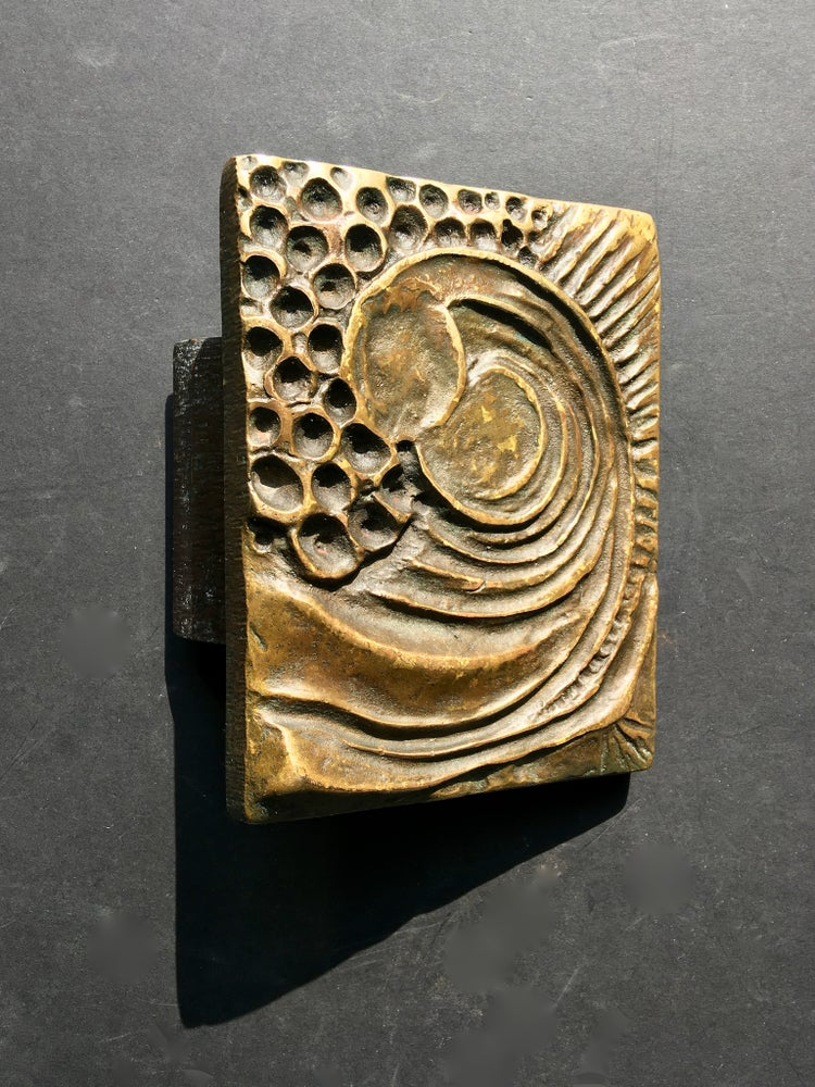 Image of Bronze Door Handle with Organic Brutalist Design