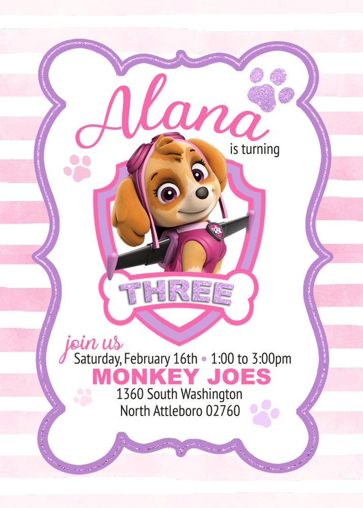 Image of Skye's Paw Patrol Birthday Invitation