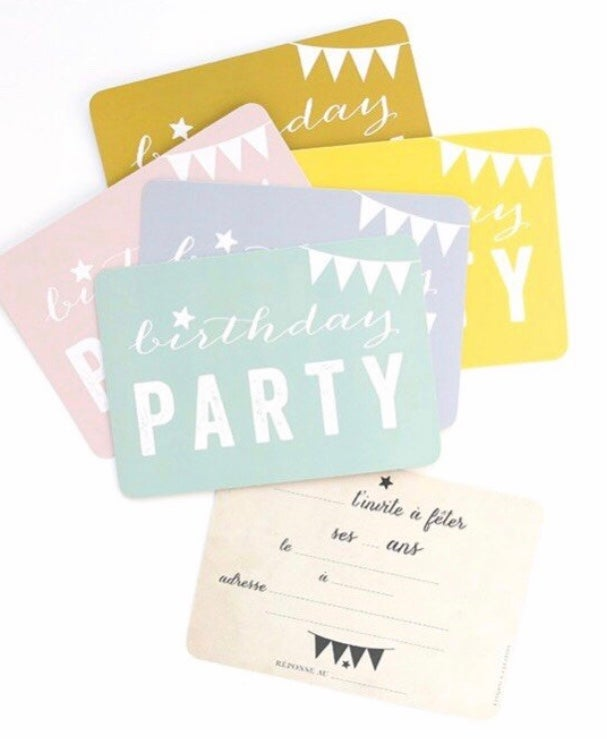 Image of Lot de 5 cartes d'invitations Cinq Mai - 5 couleurs différentes