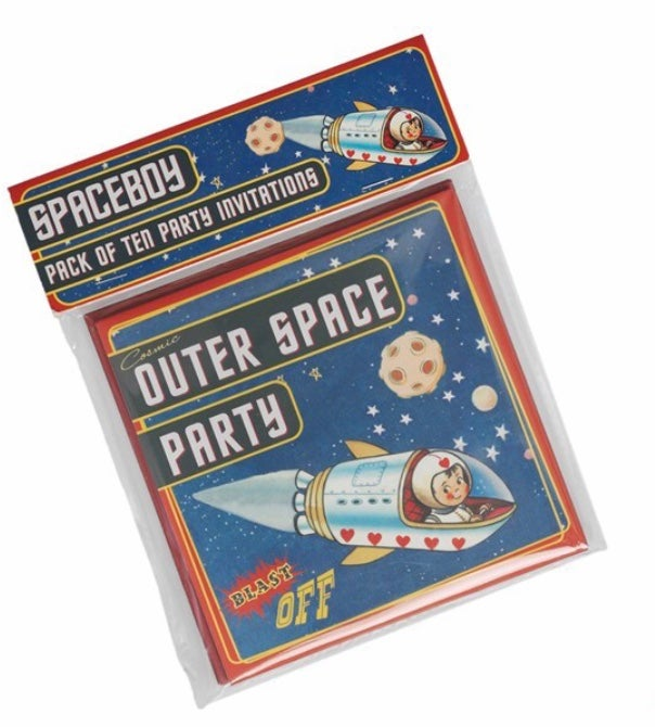 Image of Lot de 10 cartes d'invitation anniversaire Space Rex International