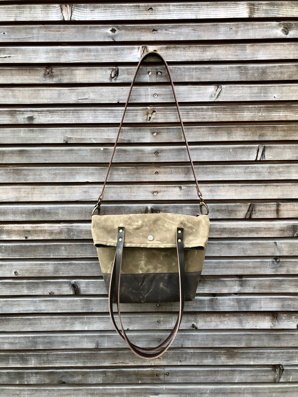 Image of Waxed canvas folded tote bag - simple tote bag - folded tote bag with cross body strap