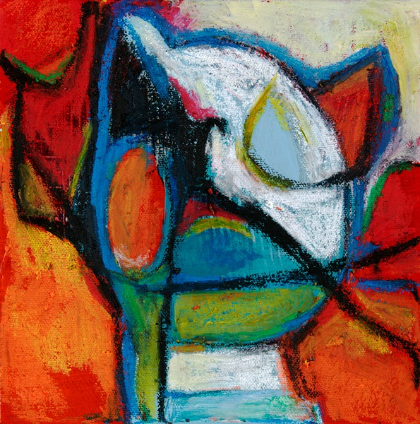 Image of KittyKat- original painting in oil pastel on stretched canvas